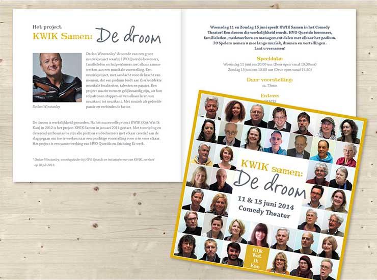 Flyer, uitnodigingskaart KWIK II, Stichting Ei-werk, Comedy theater, Grafische vormgeving, ontwerp