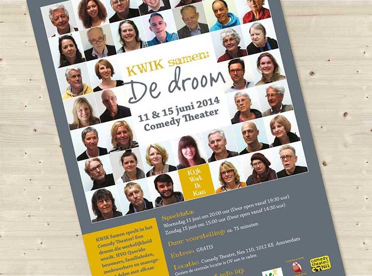 Poster KWIK II, Stichting Ei-werk, Comedy theater, Grafische vormgeving, ontwerp