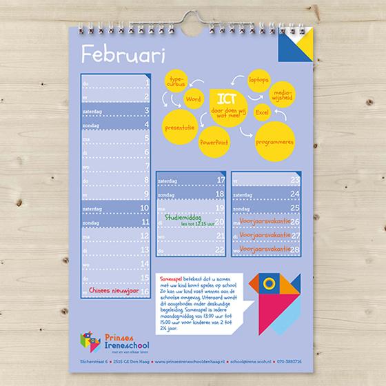 Kalender, Schoolkalender, maand februari, Prinses Ireneschool, wire-o binding
