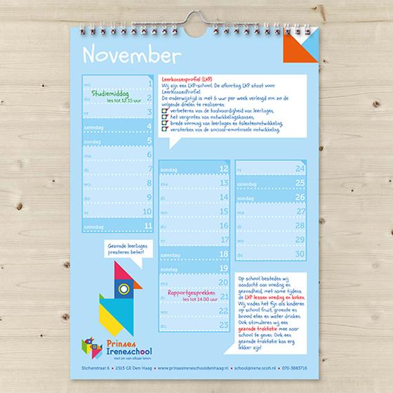 Kalender, Schoolkalender, maand november, Prinses Ireneschool, wire-o binding