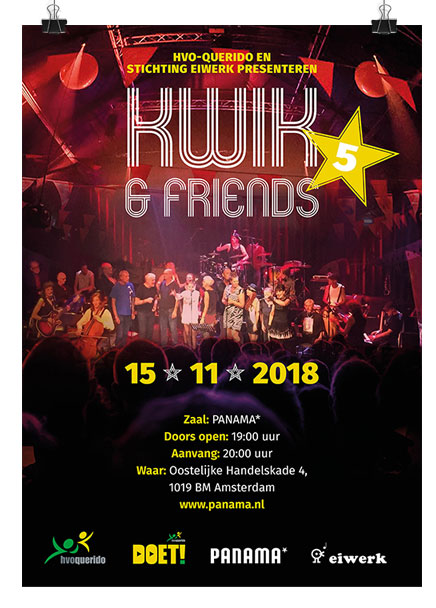 2018 Kwik en Friends treed op in Club Panama in Amsterdam. Ontwerp van Meta Pols